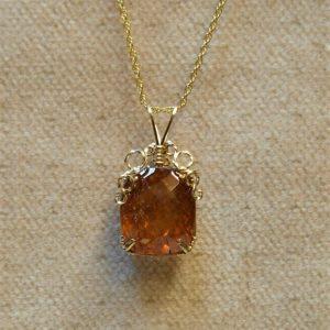 Faceted Orange Tourmaline Pendant