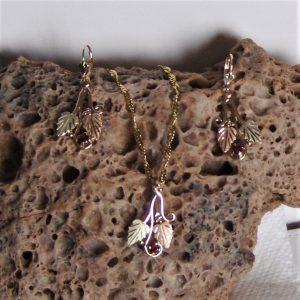 Whitaker's Black Hills Gold Traditional Pendant & Earring Set w/ Genuine Ruby/ July Birthstone