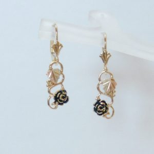 Whitaker's Black Hills Gold Antiqued Long Rose Dangle Earrings