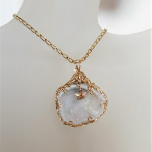 Whitaker's Black Hills Gold Butterfly Accent in White Druzy Crystal Lined Geode