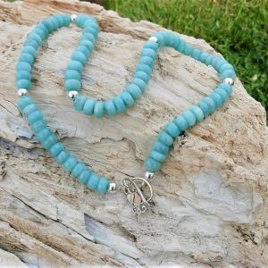 Natural Blue Peruvian Amazonite Bead Necklace w/ Whitaker's Black Hills Gold on Silver Toggle Clasp