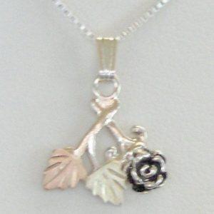 Whitaker's Black Hills Gold on Silver Antiqued Rose Pendant