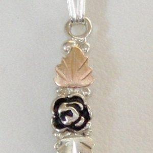 Whitaker's Black Hills Gold on Silver 2 Leaves & Antiqued Rose Pendant