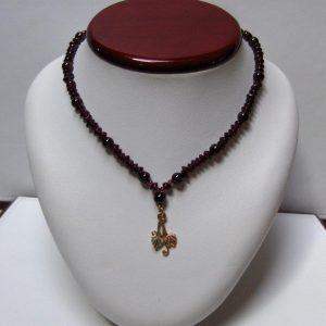 Garnet Bead Necklace w/ Whitaker's Black Hills Gold Focal