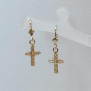 Whitaker's Black Hills Gold Pebble Cross Dangle Earrings