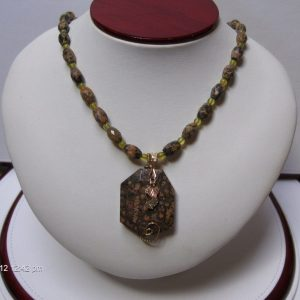 Leopard Skin Jasper & Serpentine Bead Necklace with a Whitaker's Black Hills Gold Accent