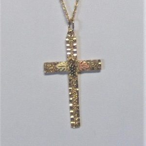 Whitaker's Black Hills Gold Diamond Cut Pebbly Textured Large Cross Pendant