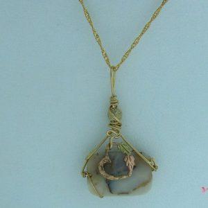 Mookaite Jasper Pendant w/ Black Hills Gold Heart Accent