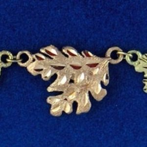 """Whitaker's Black Hills Gold 11"""" Oak Leaf Ankle Bracelet"""