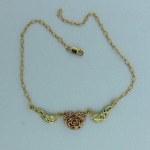 Whitaker's Black Hills Gold Pink Rose Ankle Bracelet