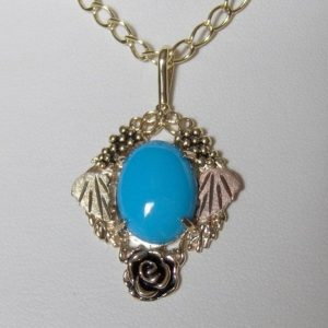 Whitaker's Black Hills Gold Large Rose Cameo Frame Pendant with Natural Sleeping Beauty Turquoise
