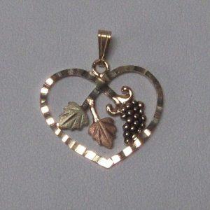 Whitaker's Black Hills Gold Heart w/ Grape Cluster Pendant