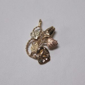 Whitaker's Black Hills Gold Rose & Bud w/ Rope Pendant