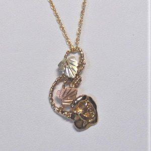 Whitaker's Black Hills Gold Rose & Vine Pendant