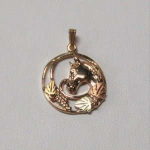 Whitaker's Black Hills Gold Horse Head in a Circle Pendant