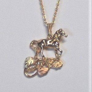 Whitaker's Black Hills Gold Horse w/ Vine Pendant