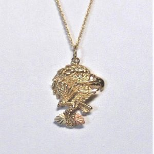 Whitaker's Black Hills Gold Double Eagle Pendant w/ Genuine Diamond Eye