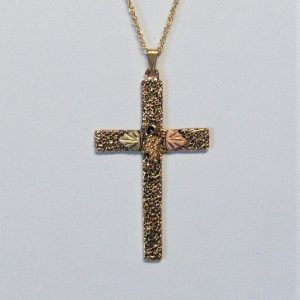 Whitaker's Black Hills Gold Large Antiqued Pebbly Textured Cross Pendant