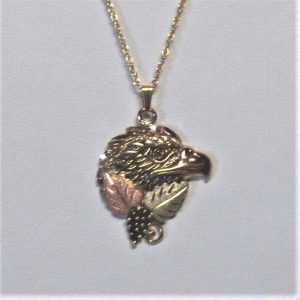 Whitaker's Black Hills Gold Antiqued Eagle Head Pendant