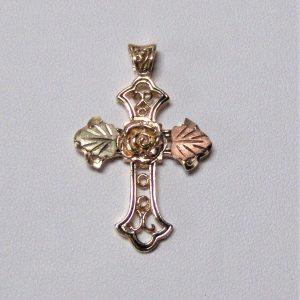 Whitaker's Black Hills Gold Large Rose Cross Pendant