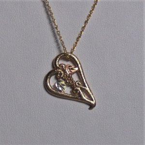Whitaker's Black Hills Gold Small Floating Heart Pendant