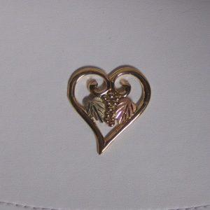 Whitaker's Black Hills Gold Large Smooth Heart Slide Pendant