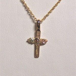 Whitaker's Black Hills Gold Linen Textured Cross Pendant