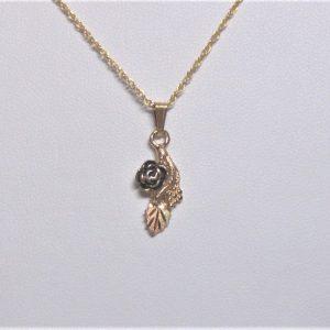 Whitaker's Black Hills Gold Antiqued Rose Drop Pendant