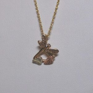 Whitaker's Black Hills Gold Mini Dragonfly Slide Pendant
