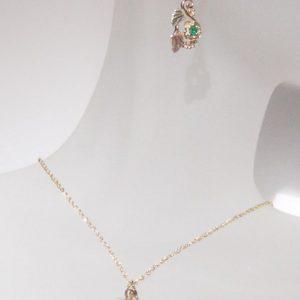Whitaker's Black Hills Gold Rose Birthstone Pendant & Earring Set with Genuine Emerald