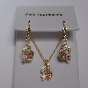 Whitaker's Black Hills Gold Rose Pendant & Earring Set with Pink Tourmaline