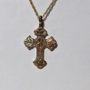 Whitaker's Black Hills Gold Patterned Cross Pendant