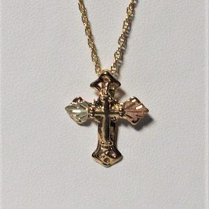Whitaker's Black Hills Gold Raised Cross Pendant