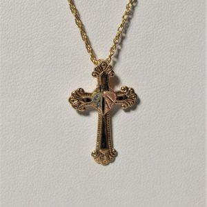 Whitaker's Black Hills Gold Cross w/12K Heart Leaf Pendant