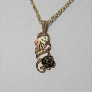 Whitaker's Black Hills Gold Antiqued Long Rose Pendant
