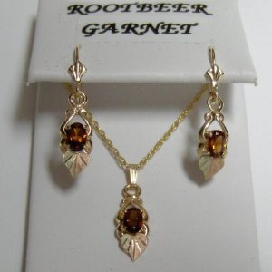 Whitaker's Black Hills Gold Pendant and Earring Set with Root-beer Garnets & 12K Heart Leaf
