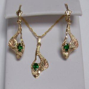 Whitaker's Black Hills Gold Modern Style Pendant & Earrings with Tsavorite Garnets