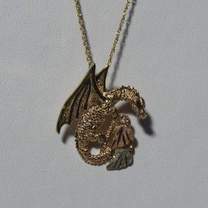 Whitaker's Black Hills Gold Horned Dragon Slide Pendant