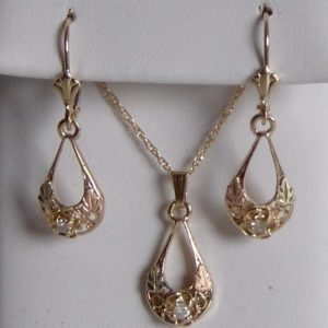 Whitaker's Black Hills Gold Oval Rose Drop Pendant & Earring Set with White Diamond
