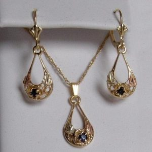 Whitaker's Black Hills Gold Oval Drop Rose Pendant & Earring Set with Ceylon Blue Sapphires
