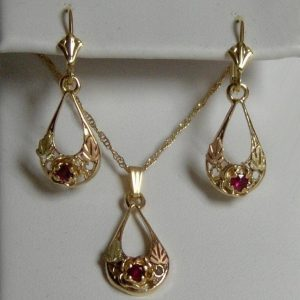 Whitaker's Black Hills Oval Drop Rose Pendant & Earring Set with Ruby