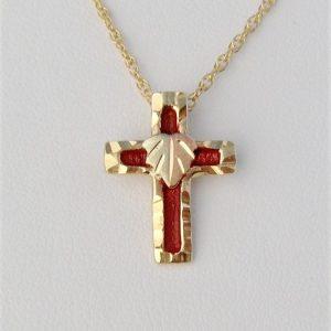 Whitaker's Black Hills Gold Enameled Cross w/12K Leaf Pendant