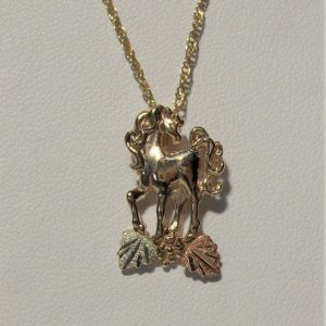 Whitaker's Black Hills Gold Cute Horse Pendant