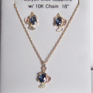 Whitaker's Black Hills Gold Large Oval Ceylon Blue Sapphire Pendant & Earring Set