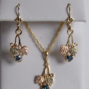 Whitaker's Black Hills Gold Small Traditional Pendant & Earring Set with Blue Diamonds