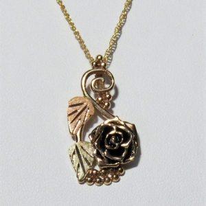 Whitaker's Black Hills Gold Antiqued Long Rose Slide Pendant