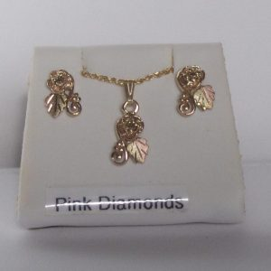 Whitaker's Black Hills Gold Small Rose Pendant & Earrings with Pink Diamonds