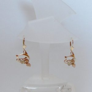 Whitaker's Black Hills Gold Dolphin Lever-back Earrings
