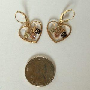Whitaker's Black Hills Gold Heart & Rose Dangle Earrings