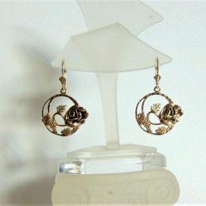 Whitaker's Black Hills Gold Rose in Circle Lever-back Earrings